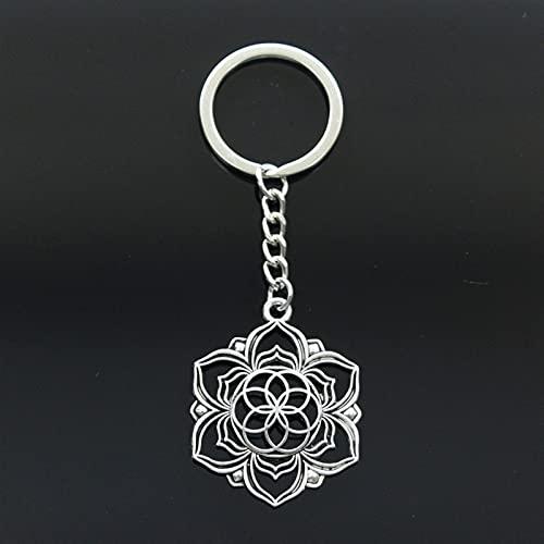 WOJING Fashion Yoga Flower of Life Datura Stramonio 43x35mm Colgante 30mm Key Ring Metal Cadena de Plata Color de Silver Coche Regalo Llavero (Color : 1, Size : G)
