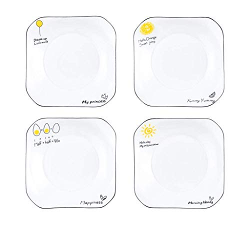 ZMHVOL Plates fruit dish 4pcs Ceramic, Household Combination Set Dinner Steak Pizza Breakfast Dish Round Pie Salad Dishes dishes for banquet (Size : 6) WANGHN