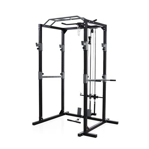 Rack de musculación, estructura de acero sólido, juego de rack de fitness, con 2 focos, barra de dominadas, soporte para dip, poleas y remo, para principiantes y avanzados (negro/rojo) (Gris / Negro)