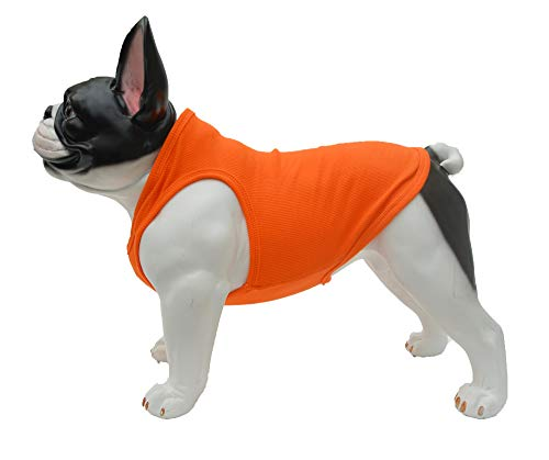 Lovelonglong 2019 Summer Pet Clothing, Dog Clothes Blank T-Shirts Ribbed Tanks Top Thread Vests for Large Medium Small Dogs 100% Cotton Orange S