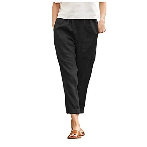 Dasongff Pantalones de ocio de verano para mujer, holgados, estilo boho, de un solo color, elásticos, para correr, yoga, fitness, entrenamiento, correr, gimnasio, etc.