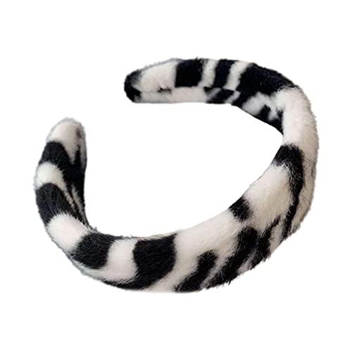 PHILSP Diadema de felpa con estampado de leopardo, banda ancha para el pelo, diseño de cebra vintage turbante para el pelo, accesorios para el cabello B