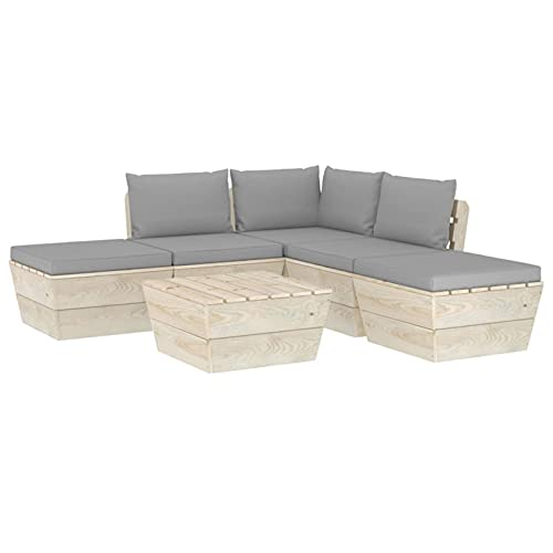 Susany Set de Muebles de Jardín de Palets 6 Piezas Sofá de Terraza con Cojines Conjunto de Asientos para Balcón Madera de Abeto Impregnada Rojo