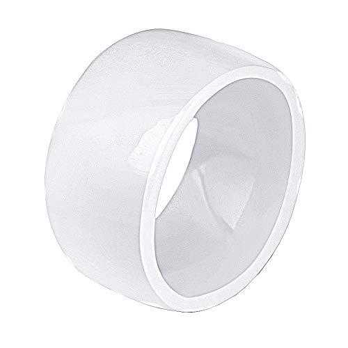 PAURO Damen Keramik Schmuck 11MM Einfach Hochglanz Ehering Ring Weiß Größe 62 (19.7)