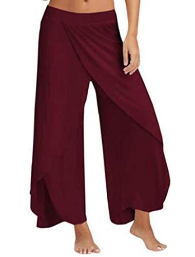 THHTUI Pantalones De Yoga para Mujer Athleisure Cintura Alta Corte De Hendidura Pantalones Palazzo En Capas Pantalón Fluido De Pierna Ancha En Capas