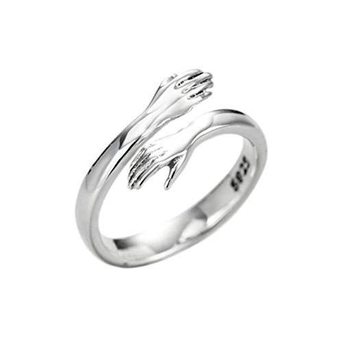 SHENSHI Anillos Mujer,Anillos Ajustables, Personalidad Creative Embrace Peace Simple 925 Sterling Silver Fashion Sweet Anillos para Mujer, Plata, Talla Única