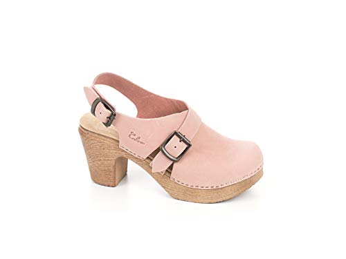 Calou Stockholm Clog Soft High Heel - Swedish Clogs- Woman Sandal Astrid Nude (41 EU, Pink)