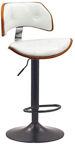 WWWWW-DENG barkruk Lifting Pole hoge kruk | Met kruk barkruk | roterende bureaustoel | verstelbare bureaustoel | 24-inch zitje | PU-leer | wit barkruk