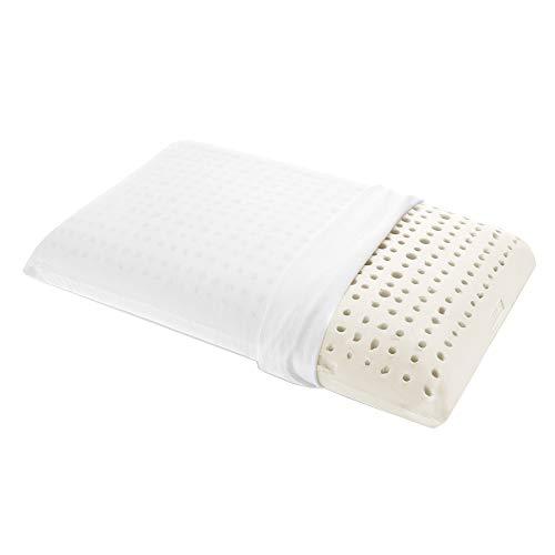 Goldflex - Oreiller orthopédique en latex naturel, anti-allergie et anti-acariens, perforé, de forme rectangulaire émoussée de 17cm d'épaisseur, avec taie 100% coton respirant