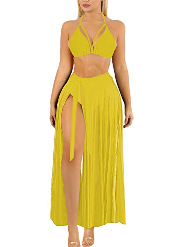 Sovoyontee Womens Sexy 3 Pieces Swimsuit Bikini Sets with Skirt Cover Up yellow Medium
