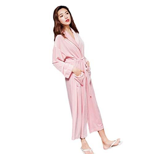 WALNUT Terciopelo Coreano Gran Solapa otoño Invierno Manga Larga Vestido de Noche Dorado Terciopelo Correa Dama de Honor túnicas Mujer Color sólido Ropa hogar (Color : B)