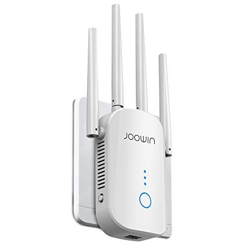 JOOWIN Ripetitore WiFi Wireless, 1200 Mbps WiFi Extender, velocità Dual Band 2.4GHz/5GHz Amplificatore Segnale Wi-Fi, Supporta la modalità AP/Ripetitore/Router, Porta Ethernet, 4 Antenna, EU Plug