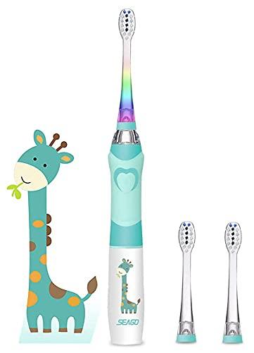 Seago Enfants Brosse à dents électrique pour 3-12 Ans avec Minuterie Intelligente et Lampes à LED de Couleur et 3 Sonique Têtes de Brosse pour junior garçons et filles SGEK6/SG977 (Vert)