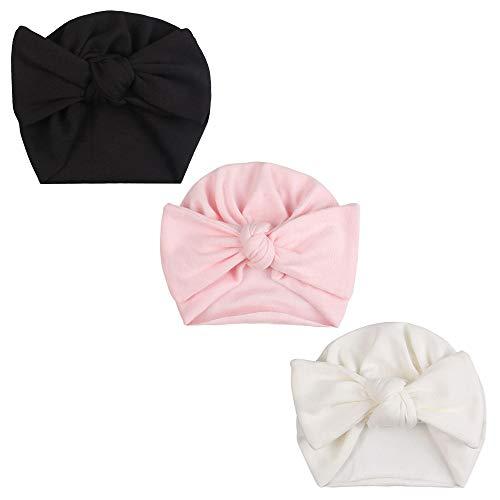 JANGANNSA Cute Bow Baby Girls Turban Infant Girls Beanies Hat Organic Cotton Soft Hats for Girls 3-Pack (White+Pink+Black) (Apparel)
