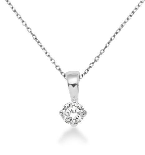 Miore Kette Damen 0.30 Ct Diamant Halskette mit Anhänger Solitär Diamant/Brillant Kette aus Weißgold 18 Karat / 750 Gold, Halsschmuck 45 cm lang