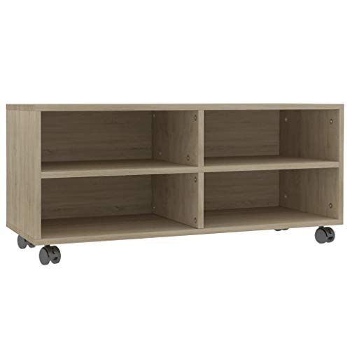 vidaXL TV Schrank mit Rollen Lowboard Fernsehtisch TV Möbel Board Tisch Fernsehschrank Sideboard HiFi-Schrank Sonoma-Eiche 90x35x35cm Spanplatte