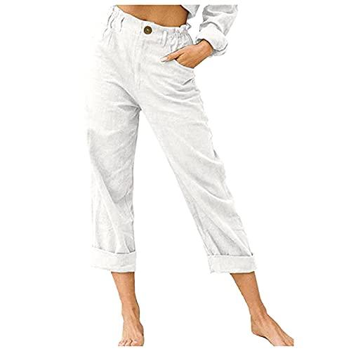 Fankle Womens Summer Cotton Linen Pants Casual Wide Leg Elastic Waist Flat Front Beach Loose Fit Trousers(White,Large)