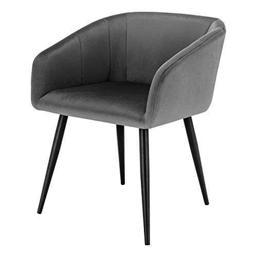 EUGAD 1x Dining Room Chair Kitchen Side Chair for Bedroom Living Room Dark Grey Velvet Dining Chair with Arms Rest, Back Support & Metal Legs, 0296BY-1