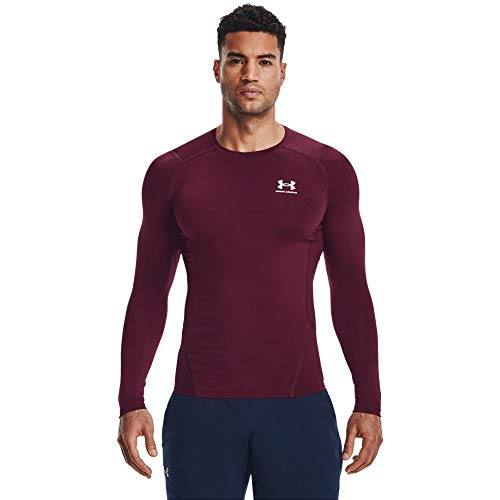 Under Armour Men's Armour HeatGear Compression Long-Sleeve T-Shirt, Maroon (609)/White, Small