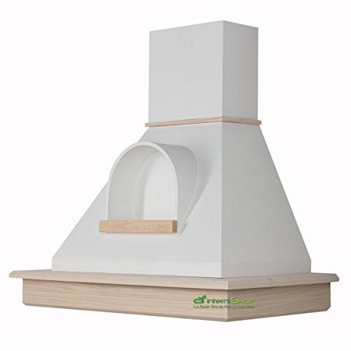Cappa cucina rustica legno mod.Stock 90 parete - frassino grezzo e cono bianco con nicchia …