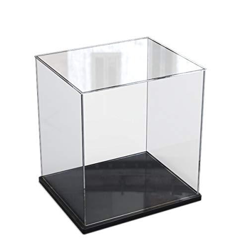 Elepure -  Caja de cristal acrílico transparente para colección Lego -  Figura mejorada,  expositor,  caja de exhibición antipolvo con base para juguetes,  minifiguras (negro,  20 x 20 x 30 cm)
