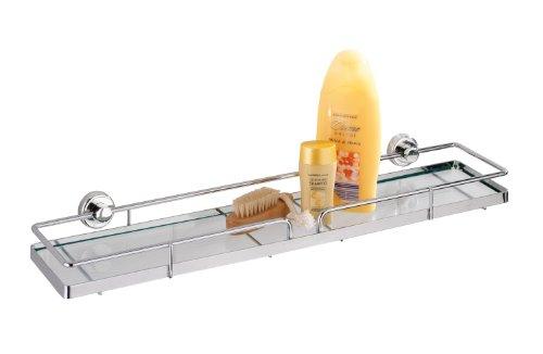WENKO Power-Loc® Glas Wandablage Sion - Befestigen ohne bohren, Stahl, 56 x 6 x 13 cm, Chrom