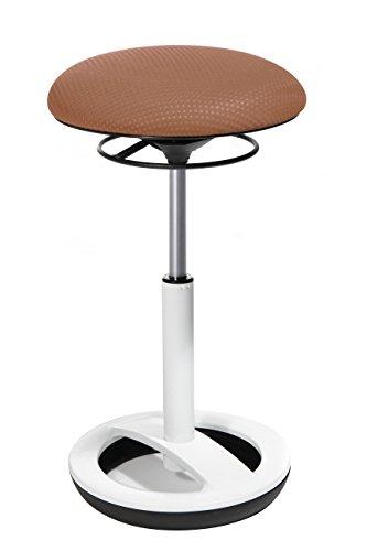Topstar SU53BR2 Stehhocker Sitness High Bob | Mit Standfußring aus Alu weiß lackiert | Mit hellbraunen, Stoff