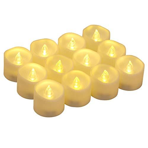12 Velas Led Pequeñas, flintronic ® Velas Led de Té Velas Eléctricas con Baterías para San Valentín, Cumpleaños, Fiestas, Navidad, Festivales, Bodas Decoración, Blanco Cálido