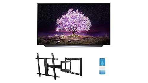 """LG OLED83C1PUA 83"""" 4K Ultra High Definition OLED Smart C1 Series TV with a Walts TV Large/Extra Large Full Motion Mount for 43""""-90"""" Compatible TV's and a Walts HDTV Screen Cleaner Kit (2021)"""