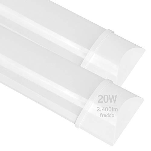 2x Plafoniere LED 20W 60cm Professionale Alta Efficienza Garanzia 5 Anni 2400 lumen - Forma: Tubo Prismatico Slim - Luce Bianco Freddo 6400K - Fascio Luminoso 120°
