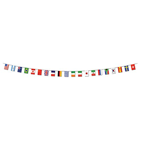 Beistle Plastic International World Flags Pennant Banner for Bars, Sports Events, Classroom Decorations and Party Supplies, 12 x 23, Multicolor