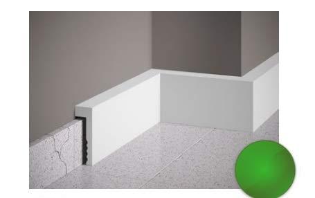 Cubre rodapiés de poliestructurado, altura 10,1 cm, color blanco. Medidas de la barra: 10,1 x 2,3 x 200 cm.