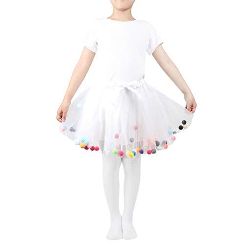 Amosfun Baby Mädchen Tutu Kleid Elastische Taille Pettiskirt Mädchen Prinzessin Tüllrock Bunte Pompom Miniröcke (Weiß, Freie Größe)