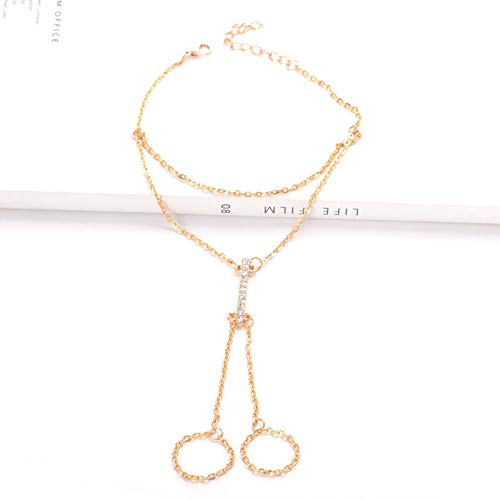 HENGTONGTONGXUN Crystal Shining Barefoot Sandals Anklet Bracelet for Women Rhinestone Bridal Toe Ankle Foot Chain Jewelry Beach Wedding A5 Easy to use (Metal Color : 1)
