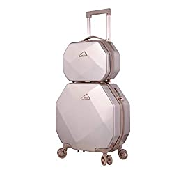 professional Kensie 3D Gem TSA Rock Spinner Hard Side Case and Bag, Rose Gold Option