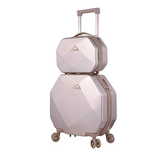 kensie 3D Gemstone TSA Lock Spinner Hardside Luggage and Tote, Rose Gold Option