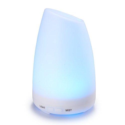 100ml Umidificatore Oli Essenziali, Alfloia Aroma Diffusore Elettrico ad Ultrasuoni Foschia Fredda 7 Colori LED, Purificatore d'Aria