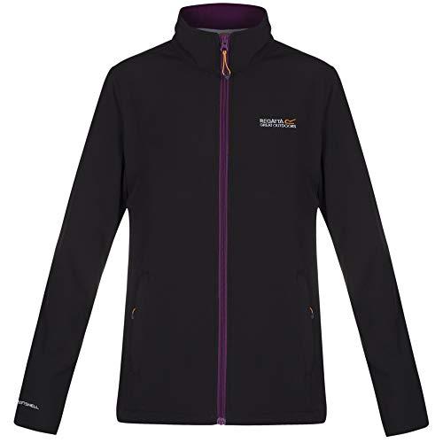 Regatta Connie III-Softshell-Jacke für Damen, wasserabweisend und windfest M Black/Blackcurrant