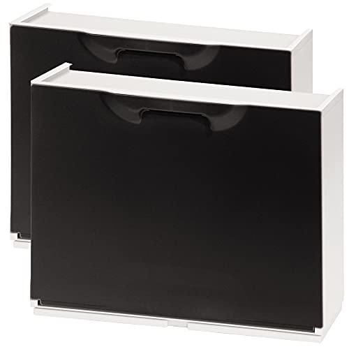 Wellhome UNIKA Pack de 2 zapateros en Polipropileno Color Negro, 40,1x51x17,3 cms. c/u