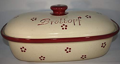Töpferei Seifert Brottopf Rubin Gross 40 cm | Brotkasten | Brotbox | Brotdose | Brotbehälter | Steinzeug | LxB 41x25