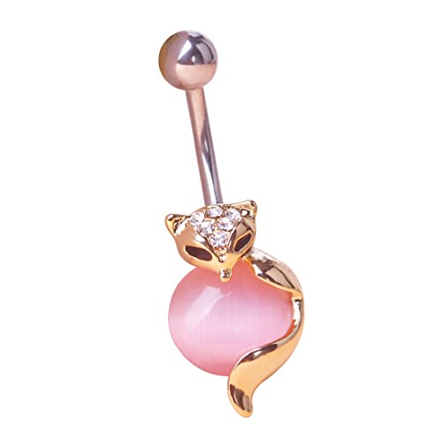 MECHOSEN Fox Belly Button Ring Surgical Steel Body Jewelry Pink