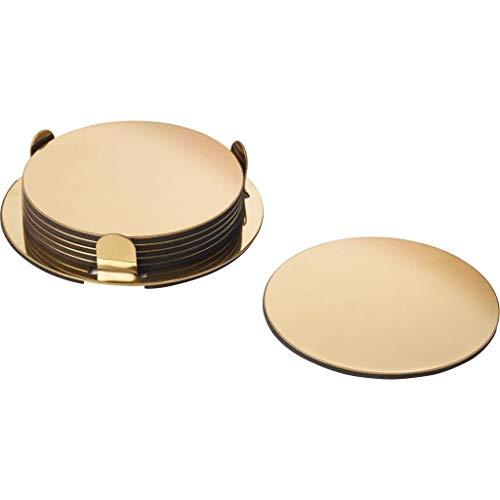 IKEA 6-er Set Glasuntersetzer GLATTIS Untersetzer mit Halter - Gold/messingfarben - 8,5 cm Durchmesser - 6 Stück