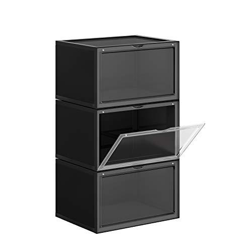 SONGMICS Cajas de Zapatos, Paquete de 3 Organizadores de Zapatos Apilables con Puerta Transparente, Zapatería de Plástico, Talla 46, 36 x 28 x 22 cm, Negro LSP03CB