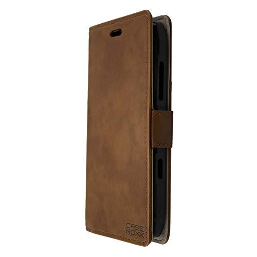 caseroxx Handy Hülle Tasche kompatibel mit Crosscall Action-X3 Bookstyle-Hülle Wallet Hülle in braun