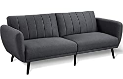 【3 CONVERTIBLE MODES】: With the flexible folding contraption, the split sofa back can be locked at 105 degrees for reading/TV or 140 degrees for lounging, or lay down flat as a 178cm/70'' long, 109cm/43'' wide platform bed for sleeping. 【CONTEMPORARY...
