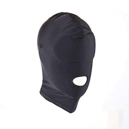 TinkSky Elastico Nero Traspirante Bocca Aperta Viso Cover Blindfold Maschera Costume Cosplay Cappuccio Unisex Copricapo Taglia M