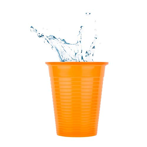 Tegcare Einwegbecher, Partybecher, Plastikbecher, Trinkbecher, 180ml (Orange, 100), 260 g