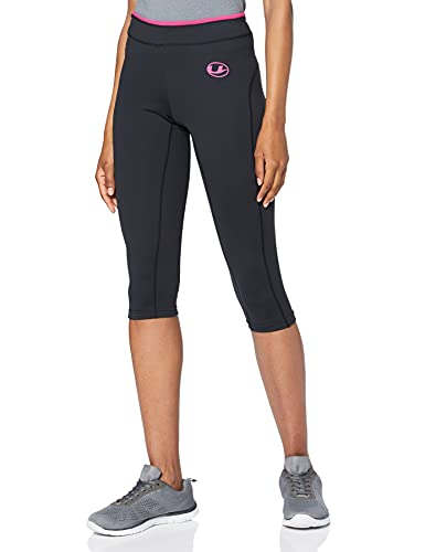 Ultrasport Damen 3/4 Fitnesshose Capri, schwarz (black/pink), L