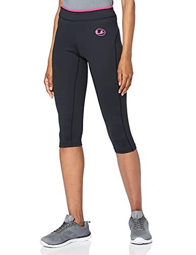 Ultrasport Pantaloni funzionali antibatterici pinocchietto Fitness/Sport per donna con funzione Quick Dry, Nero/Rosa, L