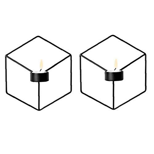 Montado en la pared candelabros, 2pcs Metal 3D geométrica pared cuelgan portavelas de velas, cena con velas Decoración del hogar Adornos para el piso de la sala vela en pie holdersWedding café